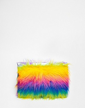 The Ragged Priest Faux Fur Multicoloured Stripe Clutch