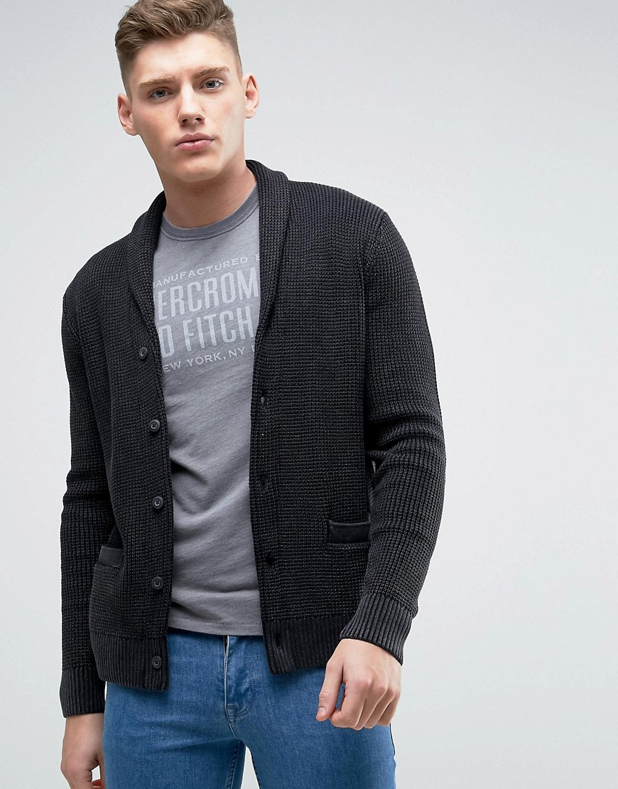 Abercrombie & Fitch Waffle Knit Shawl Collar Cardigan In Charcoal - Charcoal
