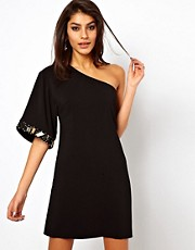 ASOS One Sleeve Dress With Embellished Cuff