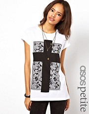ASOS PETITE T-Shirt with Pattern Square Cross