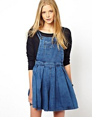 ASOS Pinafore Denim Dress in Vintage Wash