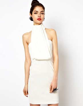 Image 1 ofAqua Rosie Dress with High Neck and Draped Front