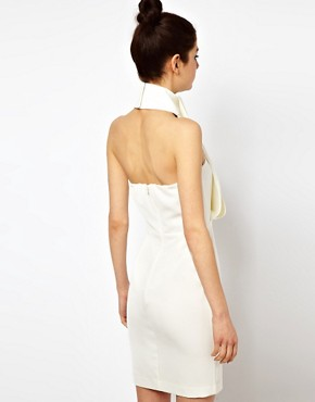 Image 2 ofAqua Rosie Dress with High Neck and Draped Front