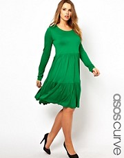 ASOS CURVE Exclusive Smock Dress With Frill Hem