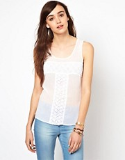 Warehouse Vest Top With Lace Panels