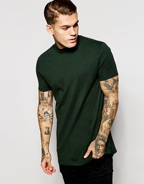 ASOS Longline T-Shirt With Turtle Neck In Relaxed Skater Fit