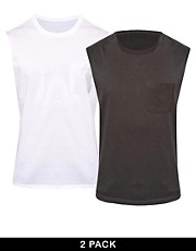 ASOS Sleeveless T-Shirt 2 Pack White/Washed Black SAVE £2