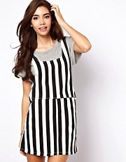 ASOS Denim Pinafore Dress in Mono Stripe
