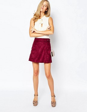 First & I 70s Suede Skirt