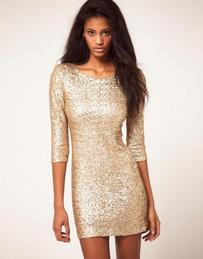 Image 1 ofTFNC Sequin Dress with Long Sleeves