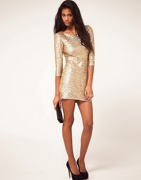 Image 4 ofTFNC Sequin Dress with Long Sleeves