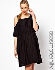 ASOS Maternity Smock Dress With Cold Shoulder In Crepe