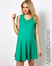 ASOS Maternity Exclusive Sleeveless Swing Dress With V Neck