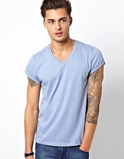 ASOS T-Shirt With V Neck And Roll Sleeve
