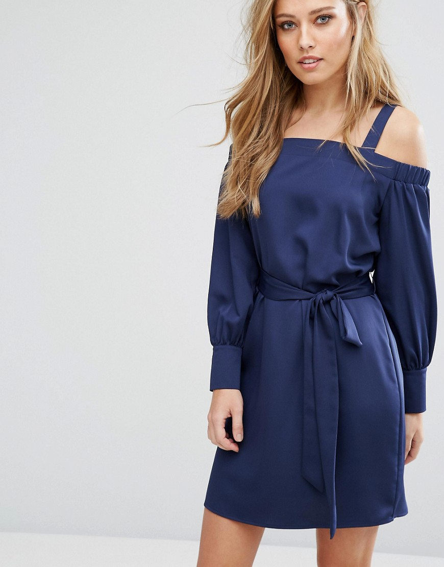 Warehouse Off The Shoulder Tie Waist Dress - Navy