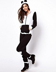 ASOS Onesie in Panda Style with Pom Poms