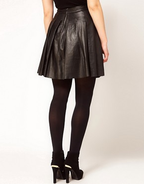 Image 2 ofASOS CURVE Skater Skirt In Leather