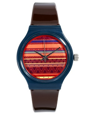 Bild 1 von ASOS  Armbanduhr mit Fairisle-Muster auf dem Zifferblatt