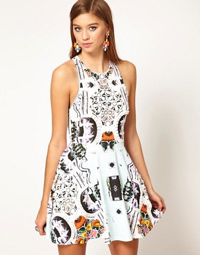 Image 1 ofAlice McCall Racer Back Flared Dress in Printed and Beaded Fabric