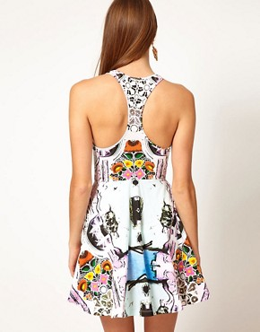 Image 2 ofAlice McCall Racer Back Flared Dress in Printed and Beaded Fabric