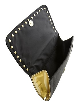 Image 2 ofRiver Island Studded Foldover Clutch Bag