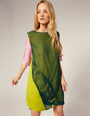 Image 1 ofLouise Gray Silk Chiffon Drape Dress