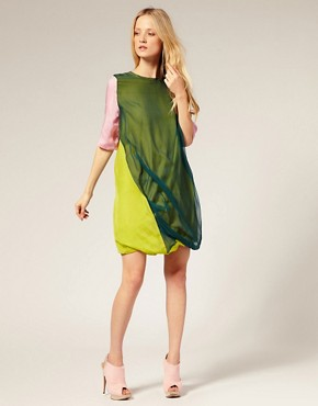 Image 4 ofLouise Gray Silk Chiffon Drape Dress