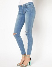 7 For All Mankind – The Skinny – Jeans im Used-Look