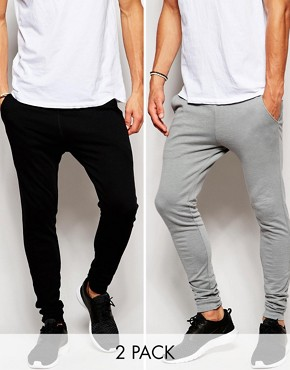 ASOS 2 Pack Super Skinny Joggers SAVE 17%