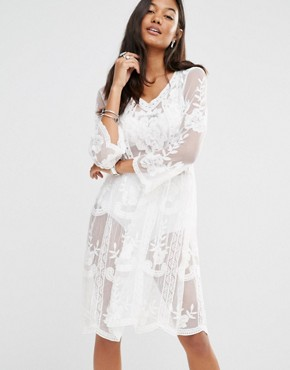 Boohoo Lace Smock Dress