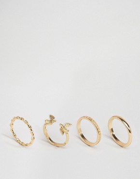 ASOS Pack of 4 Bird & Etched Stack Ring Pack