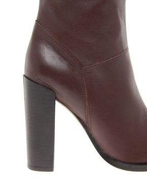 Image 4 ofASOS CINNAMON Leather Knee High Boots