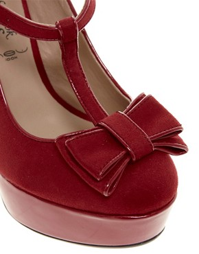 Image 2 ofNew Look Tar Red Bow Front MaryJane Platform Shoes