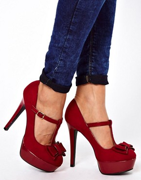 Image 3 ofNew Look Tar Red Bow Front MaryJane Platform Shoes