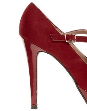 Image 4 ofNew Look Tar Red Bow Front MaryJane Platform Shoes