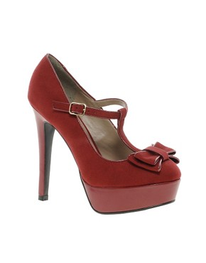 Image 1 ofNew Look Tar Red Bow Front MaryJane Platform Shoes