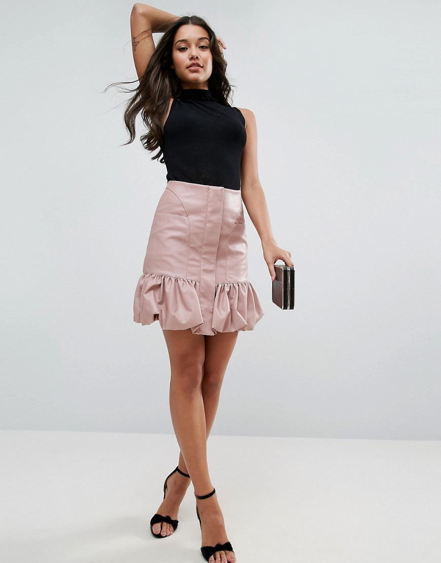 asos-bubble-hem-mini-skirt-in-leather-look-pink