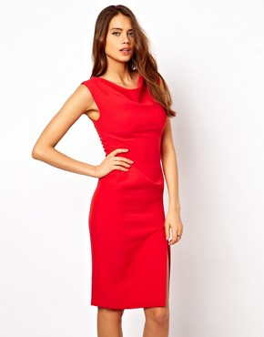 Image 1 ofASOS Pencil Dress with Slash Neck Detail