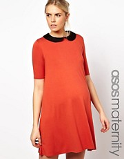 ASOS Maternity Swing Dress With Peter Pan Collar and 1/2 Sleeve