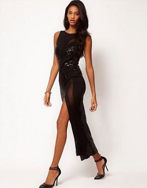 Image 4 ofASOS Maxi Dress with Sequin and Sheer Panel