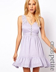 ASOS PETITE Exclusive Dress With Lace Insert And Button Front