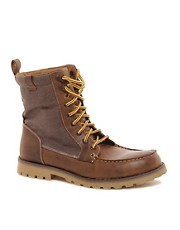 ASOS Leather And Canvas Moc Toe Boot