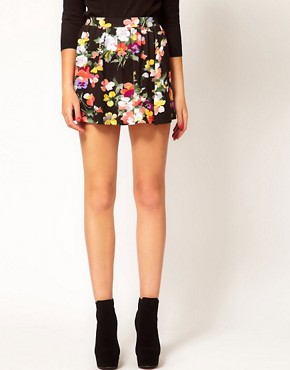 Image 4 ofASOS Skater Skirt in Sweet Pea Print