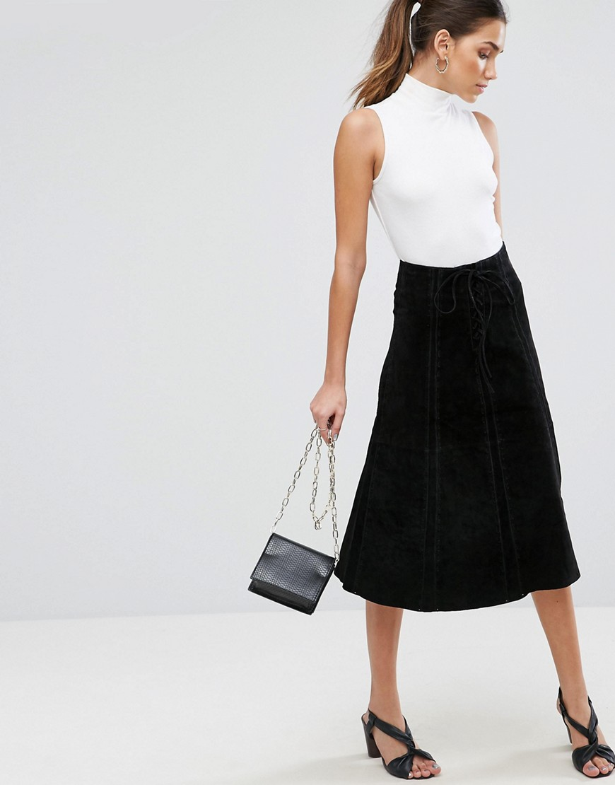 ASOS Suede Midi Skirt With Heavy Stitching And Tie Front - Black