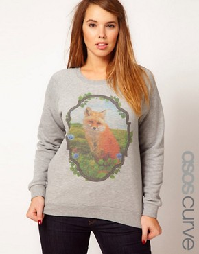 Image 1 ofASOS CURVE Sweatshirt With Fox in Window Panel