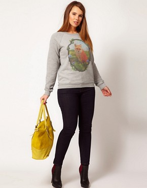 Image 4 ofASOS CURVE Sweatshirt With Fox in Window Panel