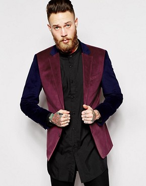 ASOS Slim Fit Blazer in Cut and Sew Velvet