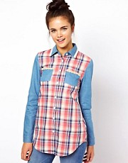 Dahlia Check Shirt with Denim Sleeve