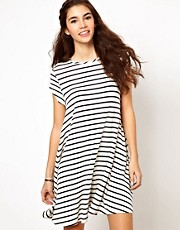 Glamorous Swing Dress In Stripe