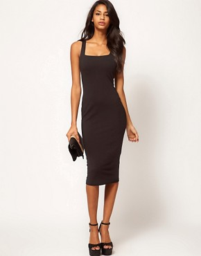 Image 1 ofASOS Midi Bodycon Dress With Square Neck